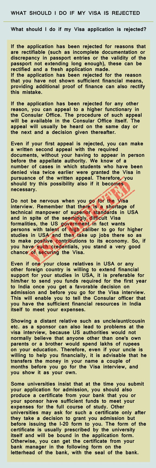 What Should I Do If My Visa Is Rejected
